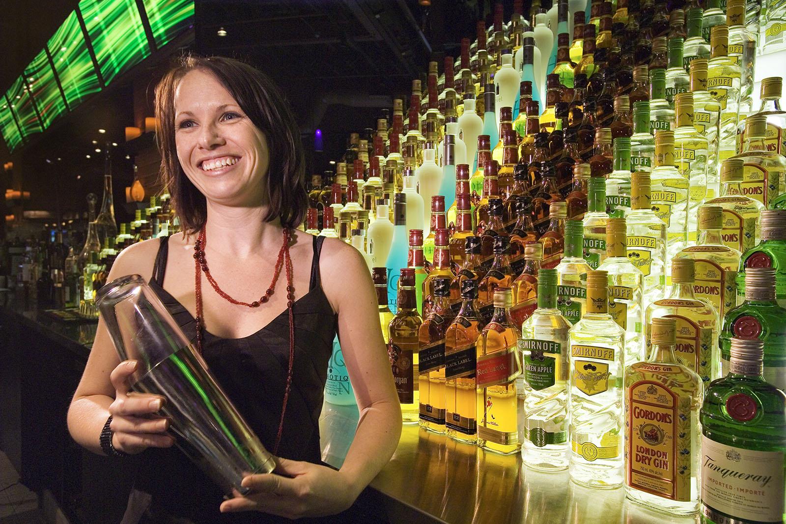 Women bartender at Alice Fazoolis Restaurant, Toronto