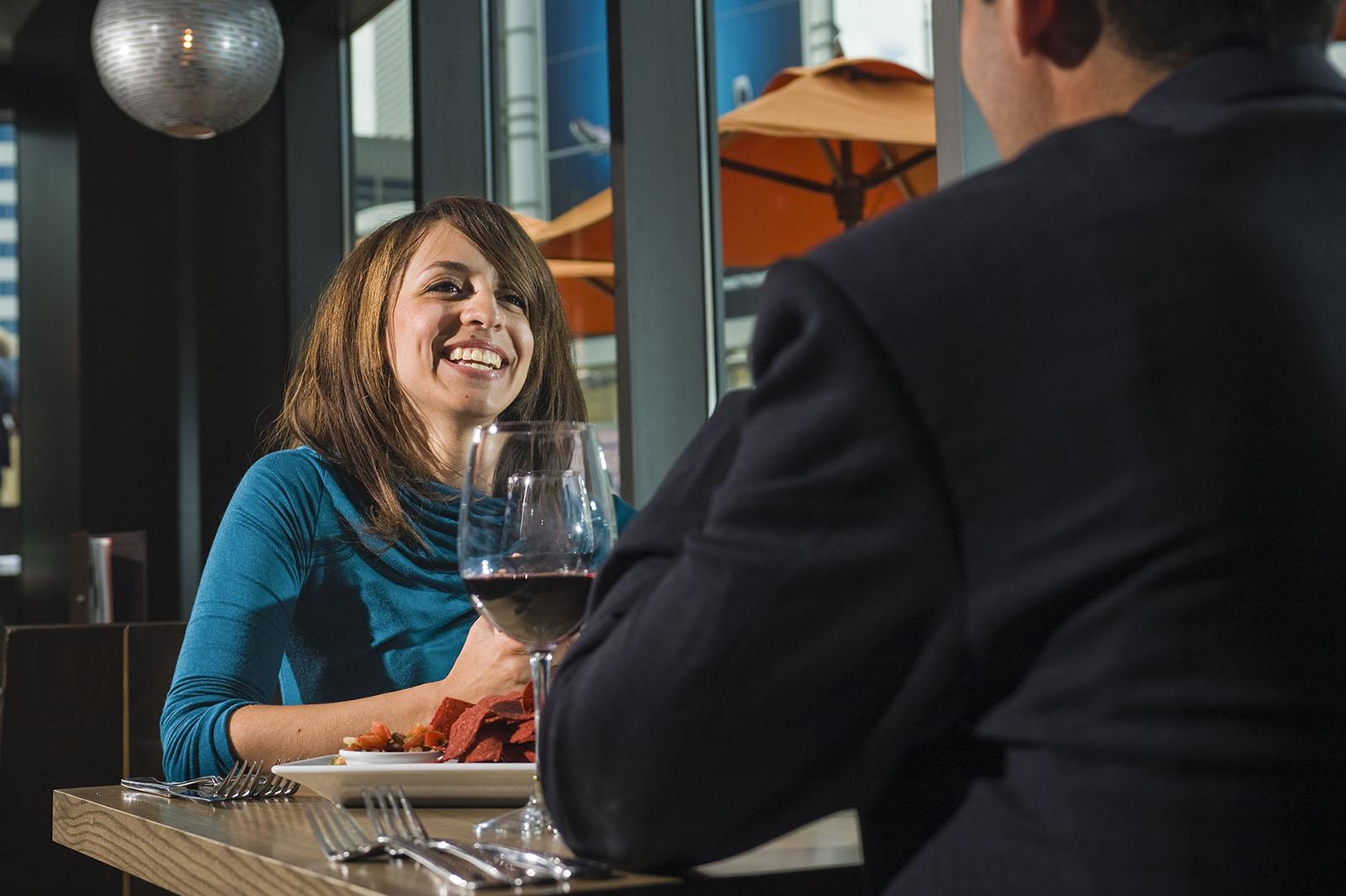 Couple dining at Milestones Restaurant, Toronto, ON