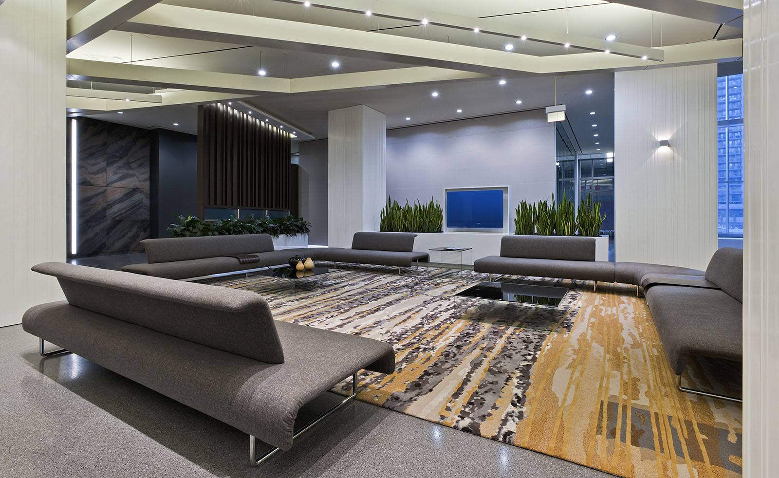 CI Financial offices reception area, Toronto, Ontario,