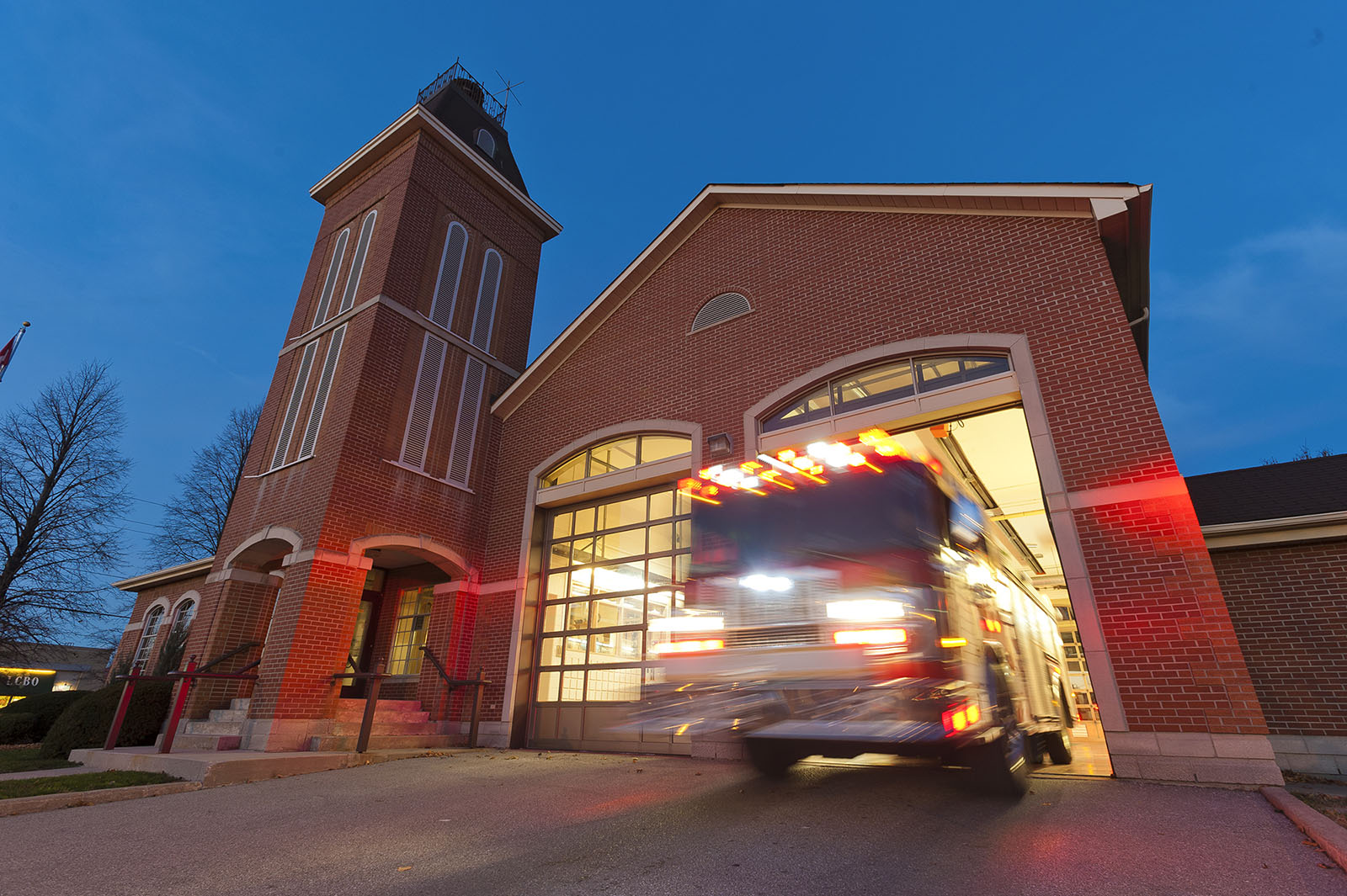 Fire engine responding to a call at Fire Station in Markham, ON