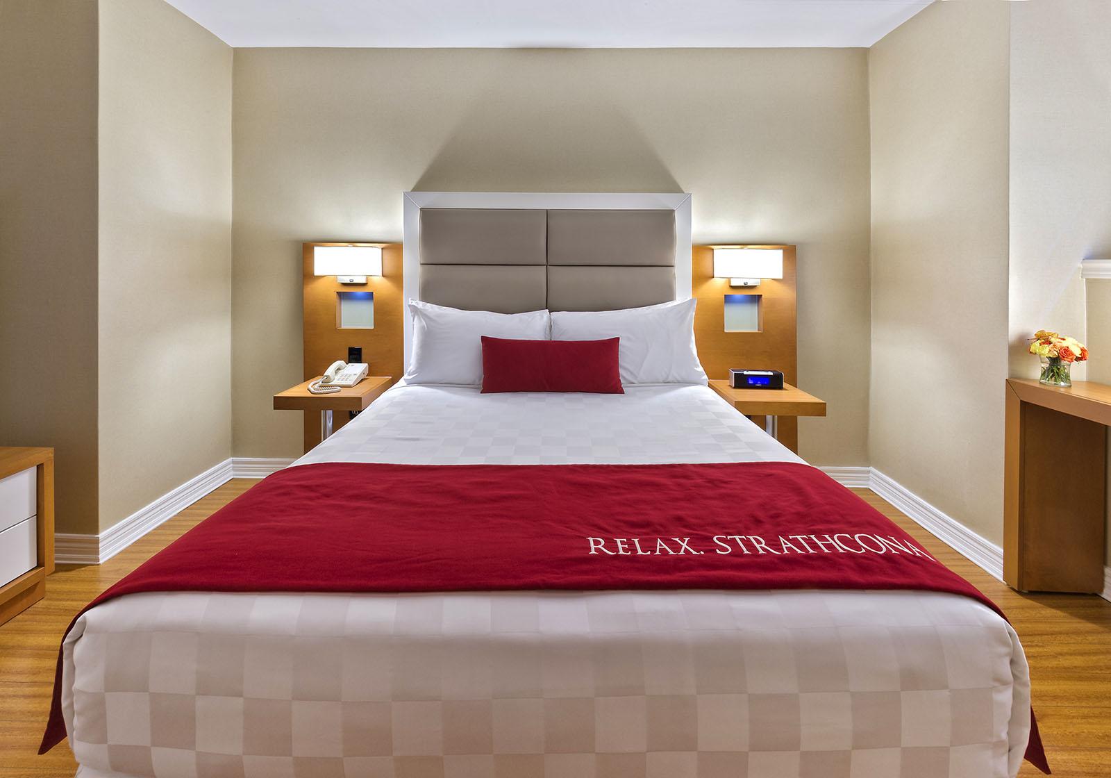 Guest bedroom in Strathcona Hotel, Toronto, Ontario