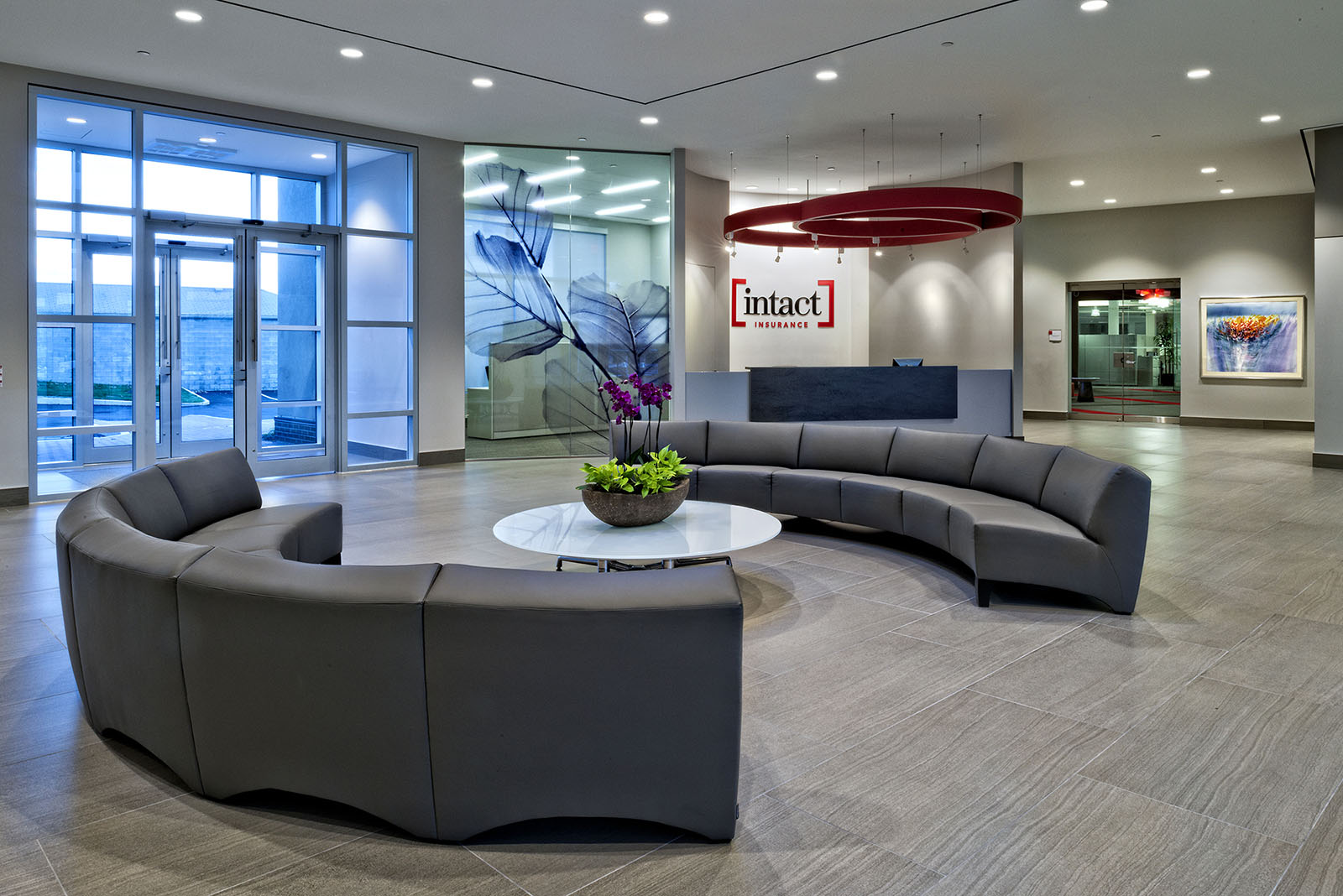 Reception area at Intact Insurance offices, Ajax, Ontario