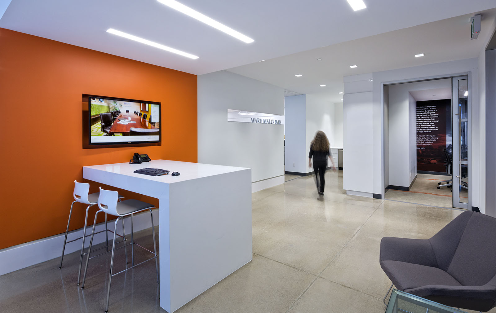 Ware Malcomb offices reception, Vaughan, Ontario