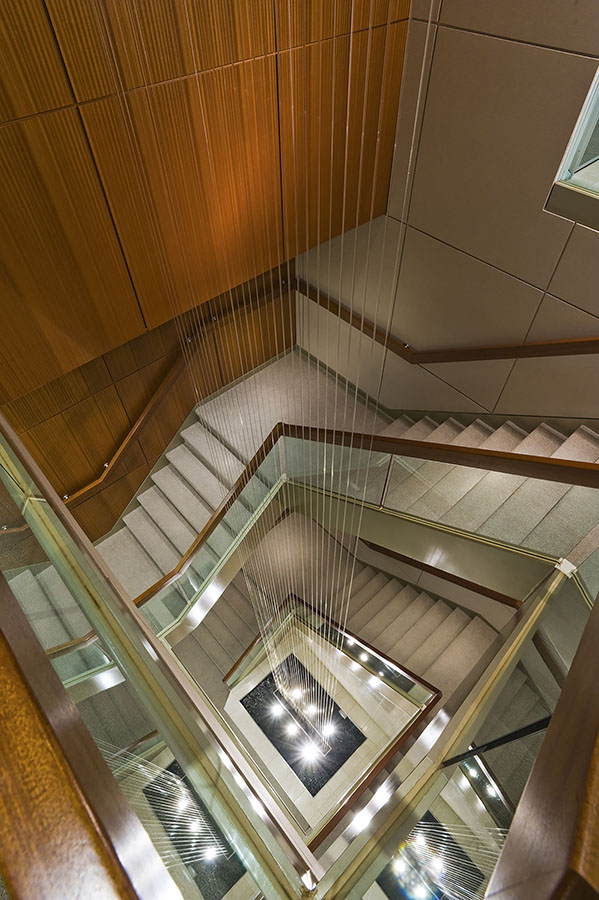 View of staircase in Swiss Re offices, Toronto, Ontario